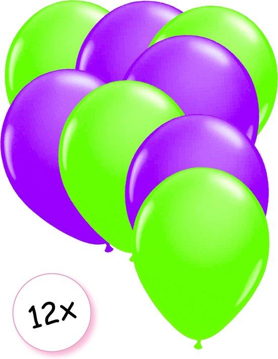 Ballonnen Neon Groen & Neon Paars 12 stuks 25 cm