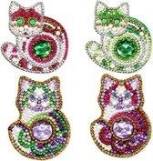 "Diamond Painting ""JobaStores®"" Sleutelhanger Set Katjes (4 stuks)"