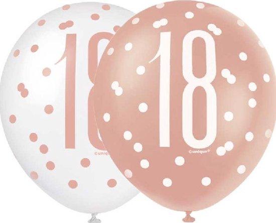 18 jaar ballonnen wit - rose goud