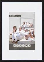 Vlakke Aluminium Wissellijst - Fotolijst - 60x80 cm - Helder Glas - Mat Zwart - 10 mm