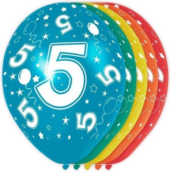 10x stuks 5 Jaar thema versiering helium ballonnen 30 cm - Feestartikelen versiering