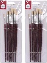 12x Hobby penselen/kwasten plat en rond - 6 stuks - Varkenshaar schilderkwasten/verfkwasten - Schilderen verfbenodigdheden - Hobbymaterialen