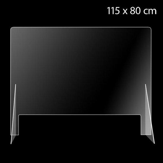 Preventiescherm 115x80 cm brede opening | Spuugscherm | Kuchscherm | Glashelder acrylaat scherm | Plexiglas scherm