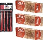 Terra boetseerklei van DAS 3 x 500 gram inclusief boetseer gereedschap setje - Hobby boetseer klei met gereedschap