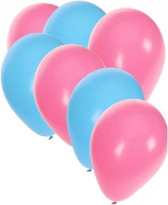 50x ballonnen lichtblauw en lichtroze - knoopballonnen