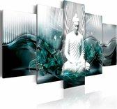 Schilderij - Azure Meditatie , boeddha , blauw wit , 5 luik