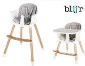 Blij'r Robbie - 2 - in 1 Kinderstoel - Scandinavisch design met slabbetje - Grijs