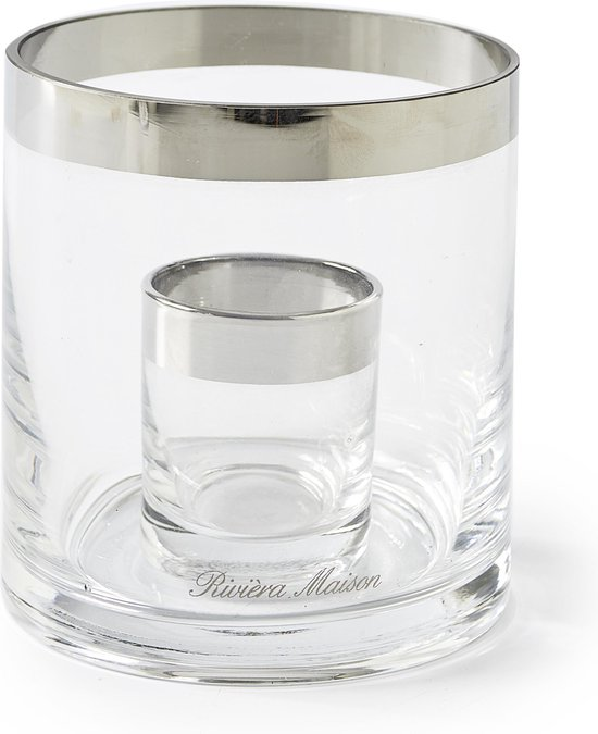 Riviera Maison Mini Double Hurricane - Windlicht - Glas - Transparant