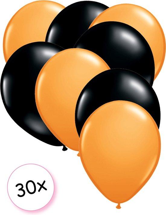 Ballonnen Oranje & Zwart 30 stuks 27 cm