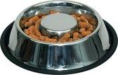 TZ® Roestvrijstalen anti-schrokbak voor honden met reinigingsborstel | Anti-slip Hondenkom gemaakt van melamine | Natural BPA-vrije voerbak | Slow feeder voor honden en katten | Vermindert opname en overeten voerbak | Slow bowl hondenkom anti schrok