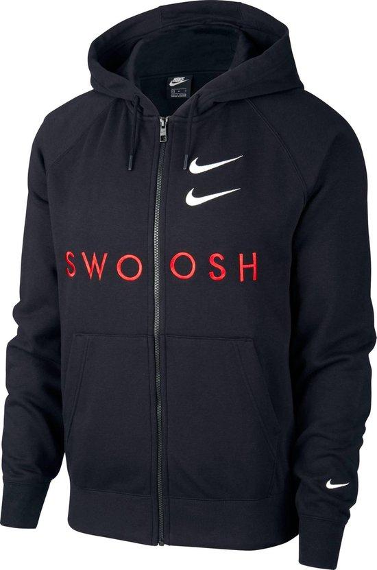 Nike Nsswoosh Hoodie Fz Ft Sporttrui Heren Black/University Red/White - Maat L