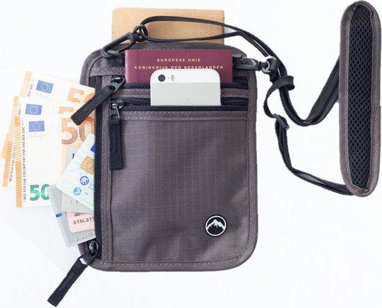 GROENE BERG Neck Travel Pouch with RFID blocking | Passport Holder | Security Neck Wallet for Men & Women – (Dark Gray) - GROENE BERG Reis Nektasje met RFID blokkering | Paspoorthouder | Veiligheids Nek Portemonnee voor heren & dames - (Donkergrijs)