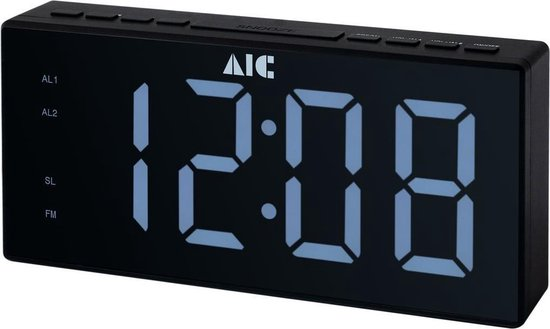 AIC 48 XXL - digitale wekkerradio - Wekkerradio met groot LED display - zwart