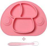 Placemat voor kinderen - bordje - baby servies - incl. lepel - 2 zuignappen - antislip - roze