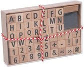 Houten Stempelset Alfabet + Cijfers 48-Delig