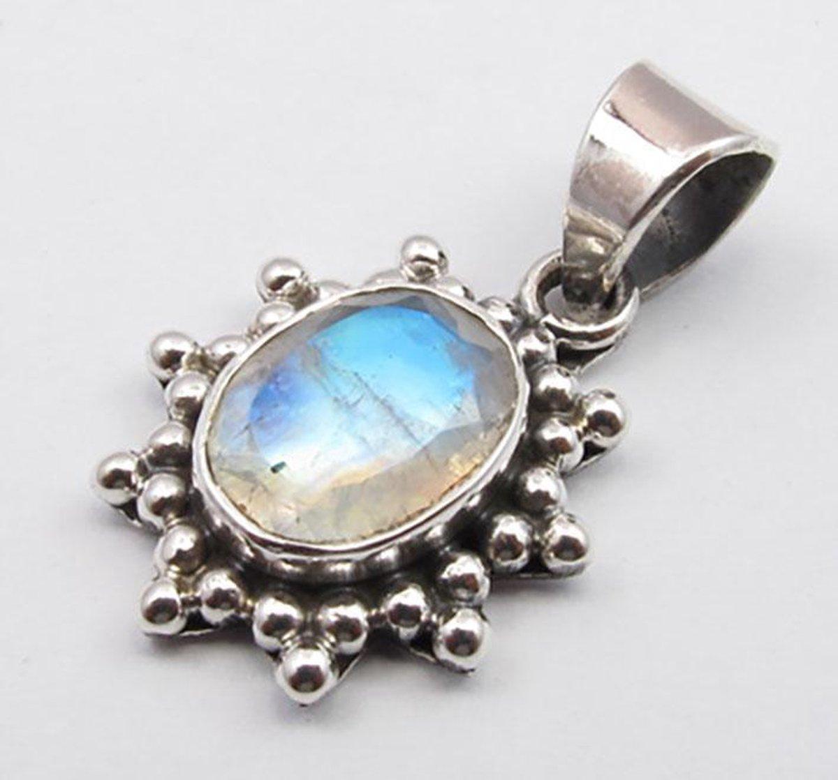 Natuursieraad -  925 sterling zilver maansteen ketting hanger pendant - luxe edelsteen sieraad - handgemaakt - Terra Edela