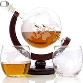 Luxe Whiskey Decanter Set – Decanter globe - Whiskey Karaf – 850 ml - Inclusief 2 Whisky Glazen