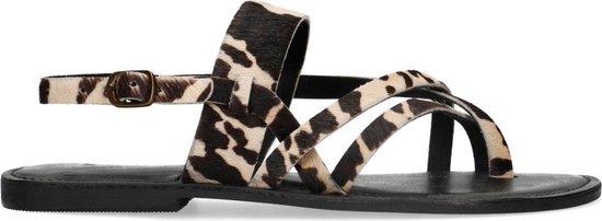Sacha - Dames - Zwarte sandalen met koeienprint - Maat 39
