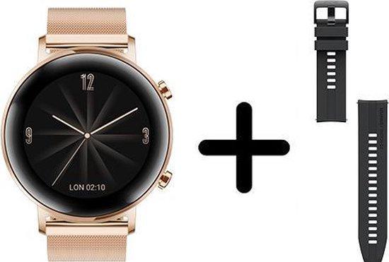 Huawei Watch GT 2 - Smartwatch - 42 mm - roze goud - metalen band