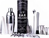 Cocktail Set van BarDeluxe® - 12-Delige Cocktailset - Cocktail Shaker Set (750ml) - Mooie Cadeauverpakking - RVS - Inclusief Nederlandstalig Receptenboek