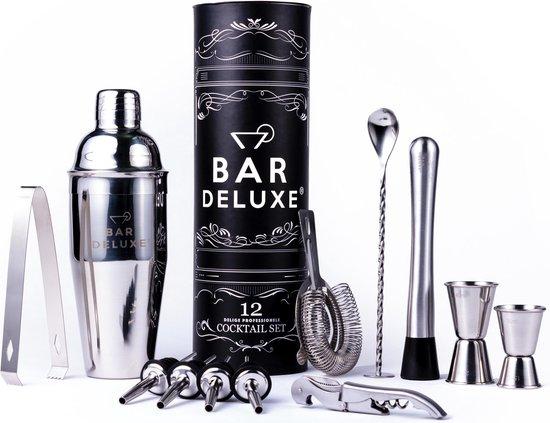 Cocktail Set van BarDeluxe® - 12-Delige Cocktailset - Cocktail Shaker Set (750ml) - Luxe Cadeauverpakking - RVS - Inclusief Nederlandstalig Receptenboek