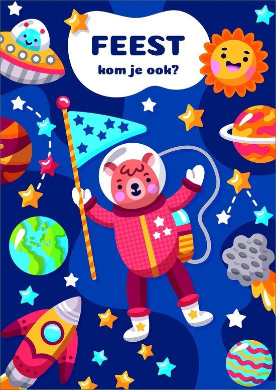 Uitnodigingen voor Kinderfeestje - Set van 10 x uitnodiging - Raket - invulbaar