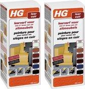 HG Leerverf - Onderhoud leer - Zwart - 250 ml - 2 Stuks !