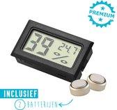 Hygrometer Met Batterijen - Zwart - Inclusief Thermometer - Digitale Luchtvochtigheidsmeter - Voor Binnen & Buiten - 2 in 1