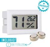 Hygrometer Met Batterijen - Wit - Inclusief Thermometer - Digitale Luchtvochtigheidsmeter - Voor Binnen & Buiten - 2 in 1