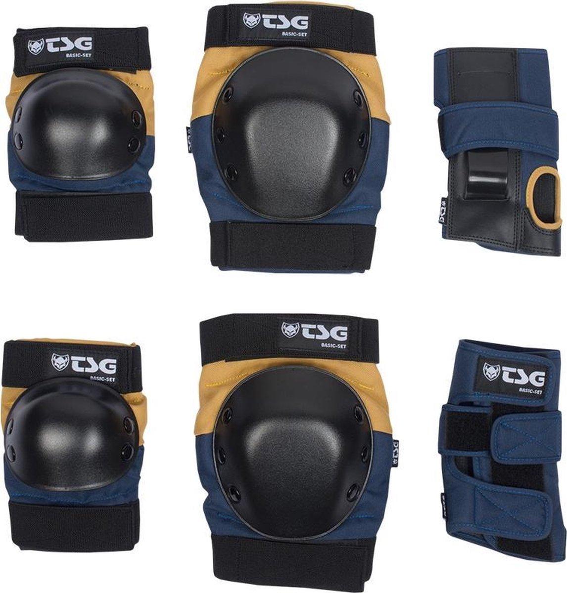 TSG Basic Set skateboard beschermers night blue / dusk yellow