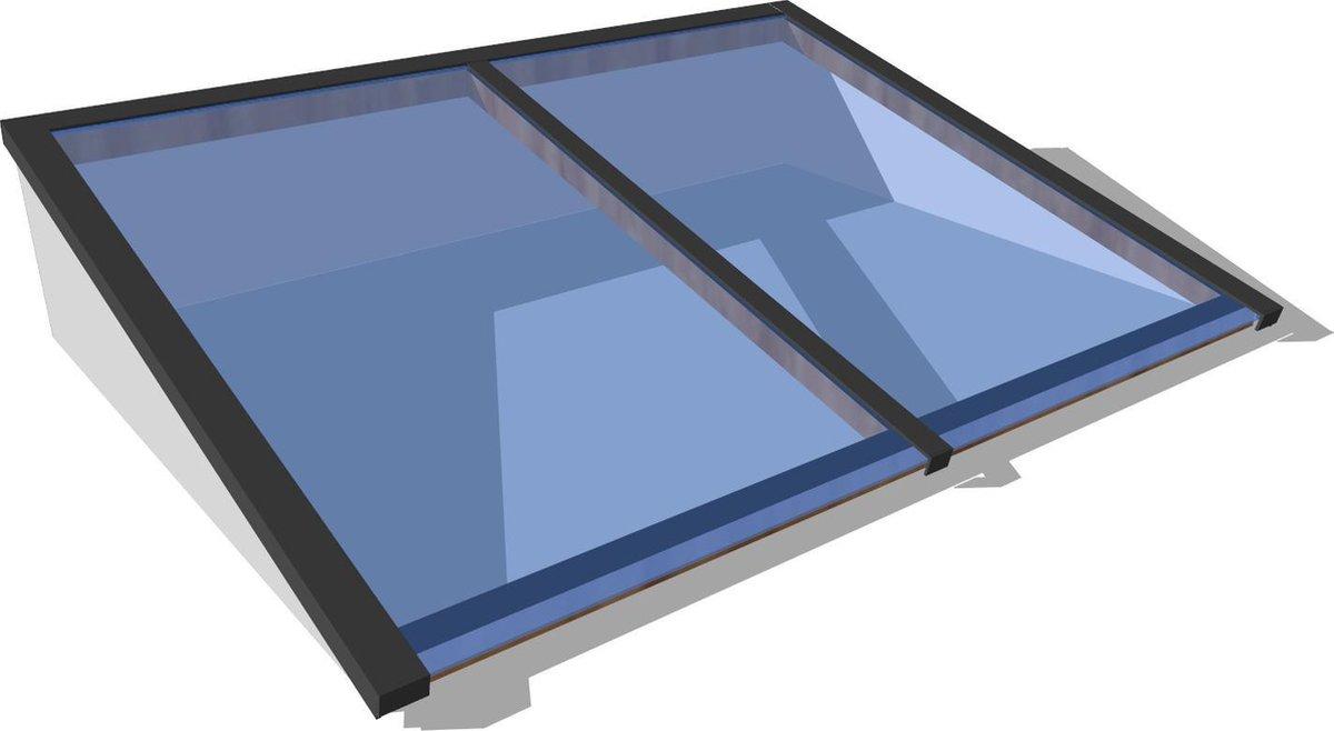 Zelfbouw lichtstraat 2 vaks 1500 x 1000 mm - Lichtkoepel wit