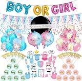 Gender Reveal Versiering Pakket XXL (103 Stuks) - Gender Reveal ballon, confettiballonnen, partyprops, caketoppers & slingers