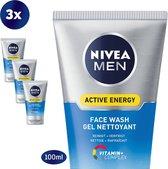 NIVEA MEN Active Energy Reinigingsgel - Face Wash - 3 x 100 ml - Voordeelverpakking