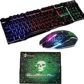 Gaming toetsenbord met muis en muismat- Gaming keyboard (QWERTY) mechanisch met led verlichting- Bedraad Gamer toetsenbord+ 2 knoppen optical game muis- Muismat met antislip
