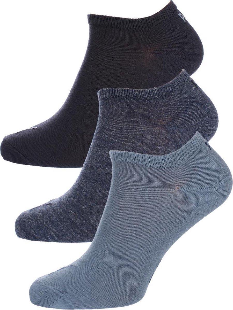 PUMA Plain 3P Sneakersokken Denim Blue - Maat 43-46