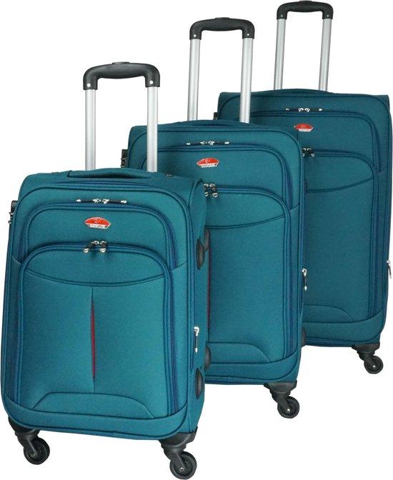 3 delig bagage stoffen koffer set 4 wielen trolley - Malachiet  Groen