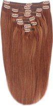 Remy Human Hair extensions Double Weft straight 15 - rood 33#