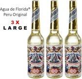 3 x LARGE Florida Water 270 ml AGUA DE FLORIDA original Peru VOORDEELPAK