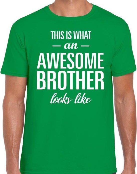 Awesome Brother tekst t-shirt groen heren - heren fun tekst shirt groen 2XL