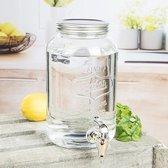Glazen drank dispenser/limonadetap met kraantje 3 liter en fruit infuser - drankdispensers