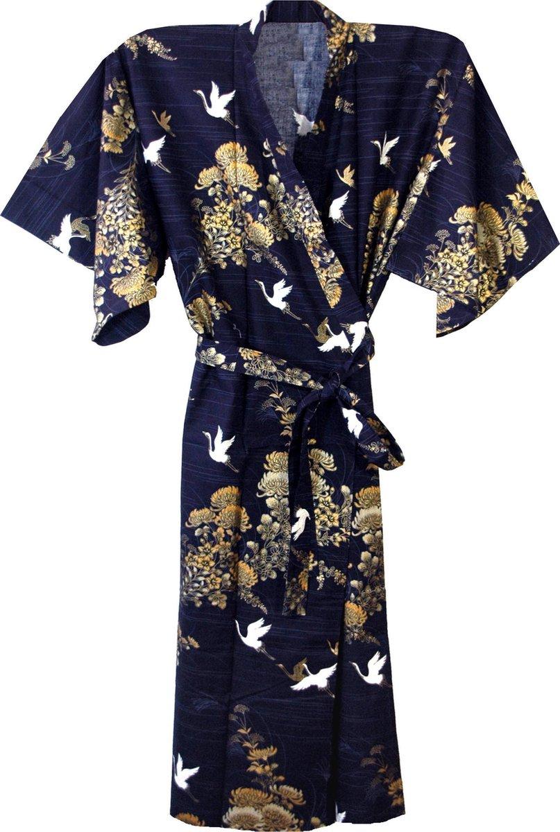Traditionele Japanse Kimono Yukata Kraanvogel Blauw 100% katoen