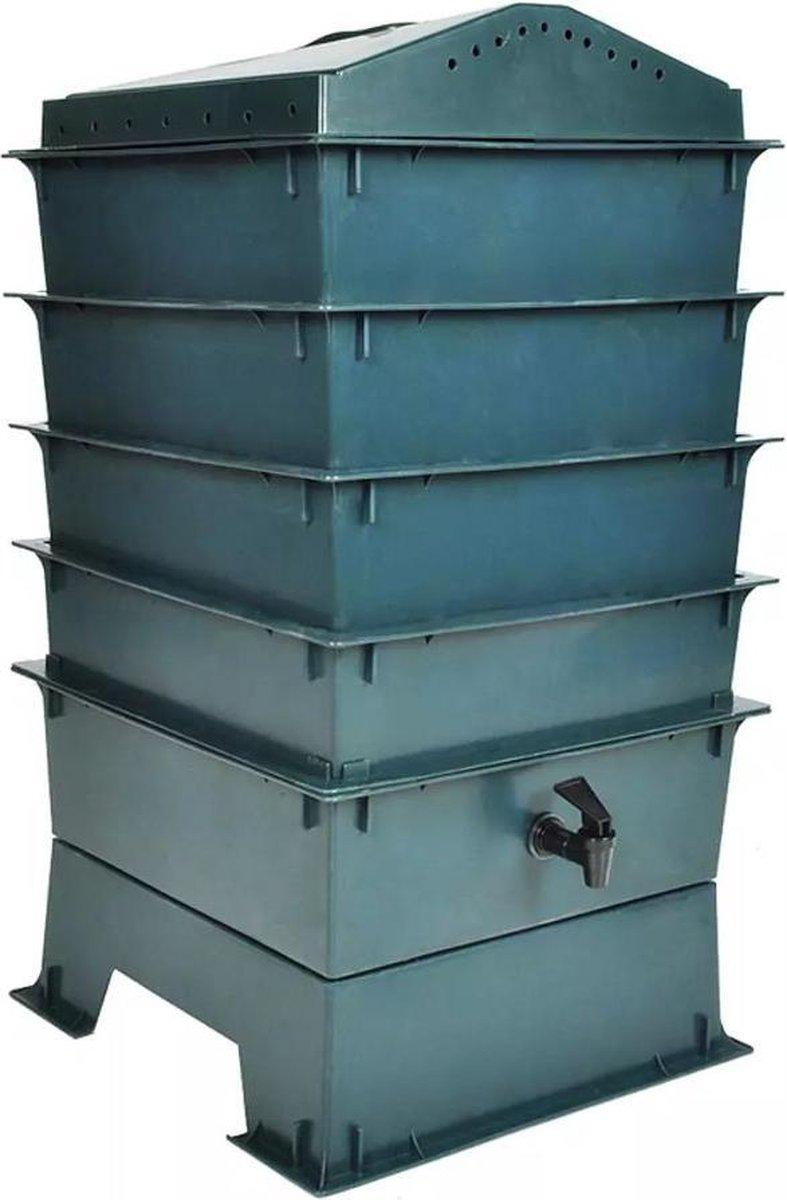 Wormenbak - HDPE kunststof - Groen - 42 x 42 x 60 cm - 4-laags