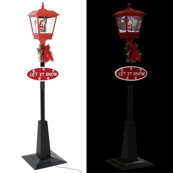 Straatlantaarn met kerstman LED 180 cm
