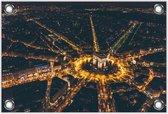 Tuinposter –Stad met Lampjes– 90x60 Foto op Tuinposter (wanddecoratie voor buiten en binnen)