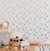 Kids@Home | stippen | zilver, grijs, geel | vliesbehang 0,53x10m