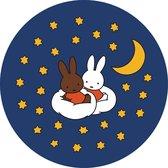 Tapijt Nijntje Sleep - Speelmat Pluche Nacht - Wasbaar - Antislip - 60x60 cm - Rond