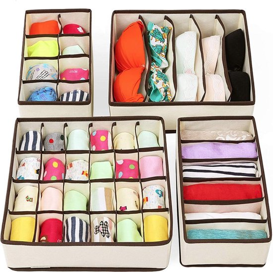FLOKOO Organizer voor Kleding - Kledingverdeler - 4 stuks - Opbergbox - Opbergsysteem 45 vakken - Ondergoed / Sokken / Shirts / BH - Kastlade Verdeler - Kast Verdeler - Kledingkast Organizer - Kleding verdeler - Opbergboxen - Lade verdeler