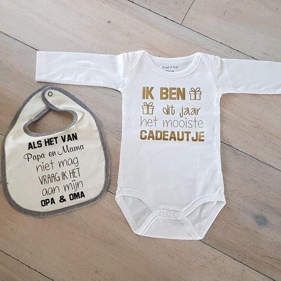 cadeau set baby met slabbetje en rompertje met tekst voor jongen of meisje: vraag opa en oma .. slab en mooiste cadaeutje romper zwangerschap aankondiging geboorte