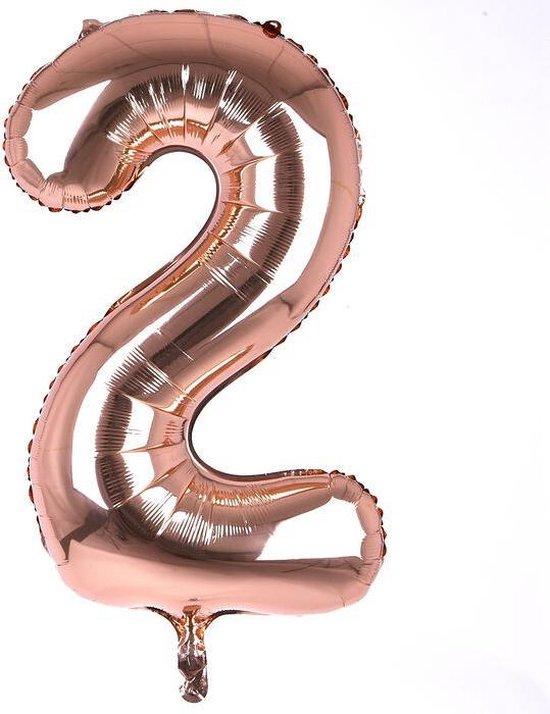 Helium ballon - Cijfer ballon - Nummer 2 - 2 jaar - Verjaardag - Rosé Gold - Roze ballon - 80cm