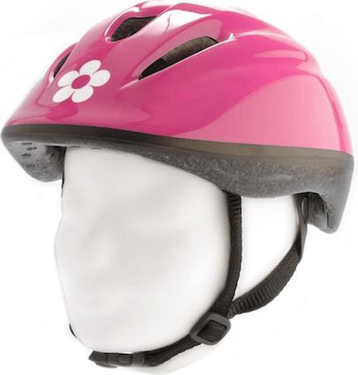 Pexkids fiets helm Junior Flowers Maat 52/56 Cm Roze met bloemen